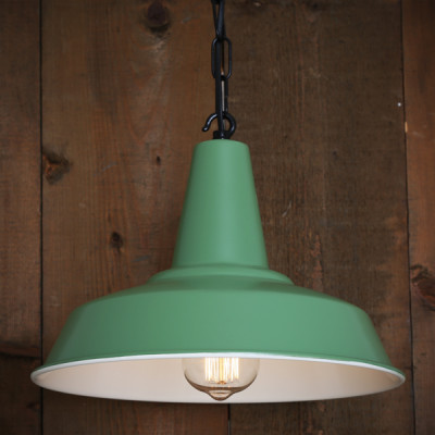 Hex Factory Pendant Light Powder Coated Sage Green