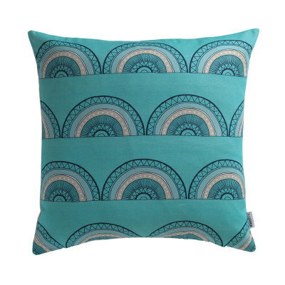 Horseshoe Arch In Teal Cushion