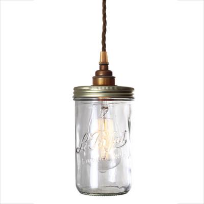 Jam Jar Pendant Light Antique Brass
