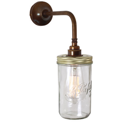 Jam Jar Wall Light Antique Brass