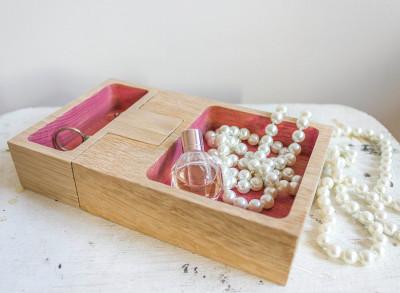 Join Candleholder & Storage Oak, Pink