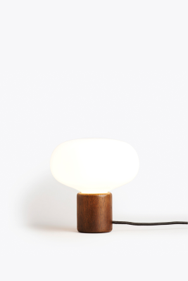 Karl Johan Table Lamp Smoked Oak, White Opal Glass
