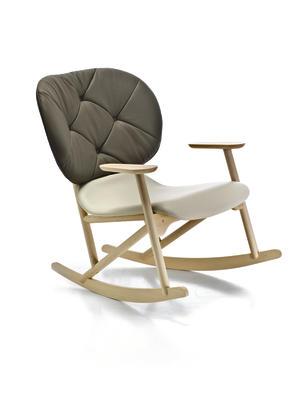 Klara Rocking Button Tufted Armchair A4500 - Art.48045 - 206 beige, Natural Wax Beech