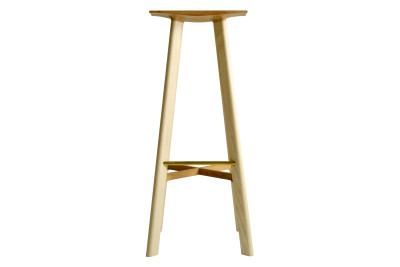 LE1 Bar Stool Ash Legs, Cherry Seat
