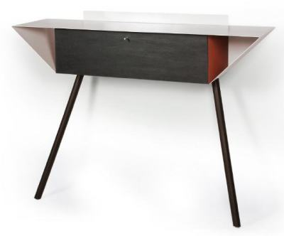 "Leaning sideboard ""Anlehnschrank 02 - Slate"" Red with black beech wood legs"