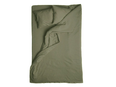 Linen Duvet Cover - Moss Green Single 140x200cm