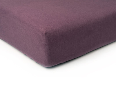 Linen fitted sheet Eggplant colour Queen/UK King
