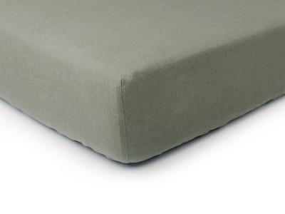 Linen fitted sheet Moss green King