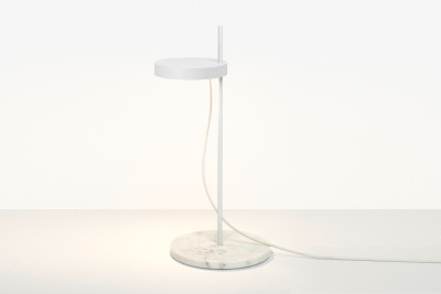 LT06 Palo Table Lamp Signal White with Bianco Carrara Marble