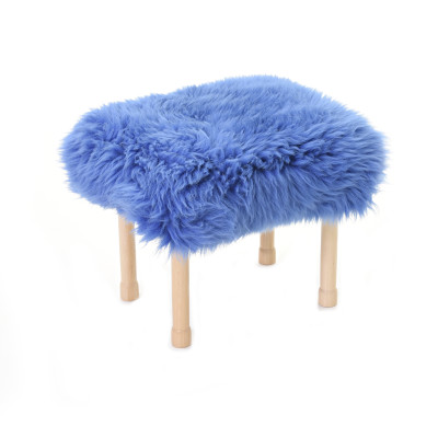 Megan Sheepskin Footstool Cornflower Blue