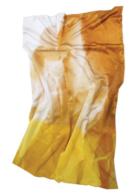 Mello Yellow Crinkled Paper Print Satin Bed Throw