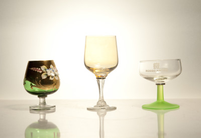 Mixers Set of Three Glasses Mixers - Green/Gold