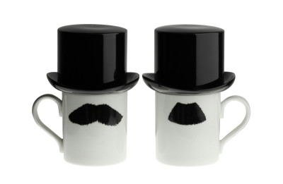 Mustafa Chaplin Moustache Mug with Sugar Bowl Top Hat