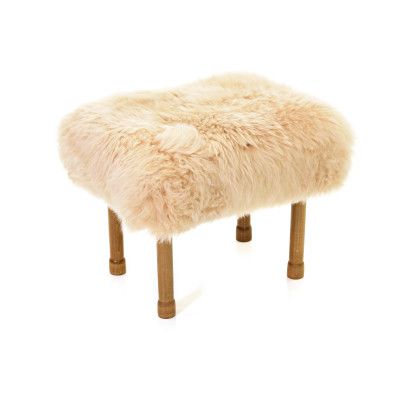 Myfanwy Sheepskin Footstool  Buttermilk