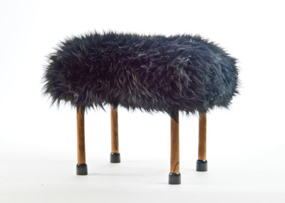 Nerys Sheepskin Footstool Coal Black