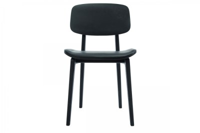 NY11 Dining Chair, Leather Seat Black Frame