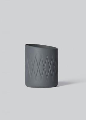Oblique Tea Light Holder Dark Grey