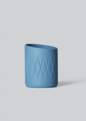 Oblique Tea Light Holder Steel Blue