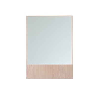 Offset Mirror Rectangle Clear Mirror, Oak