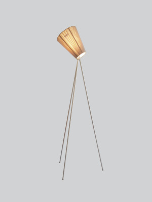 Oslo Wood Floor Lamp Beige Shade, Steel Body