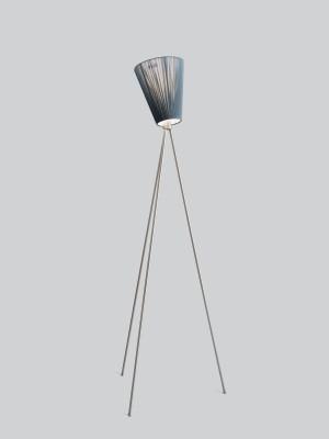 Oslo Wood Floor Lamp Green Shade, Steel Body