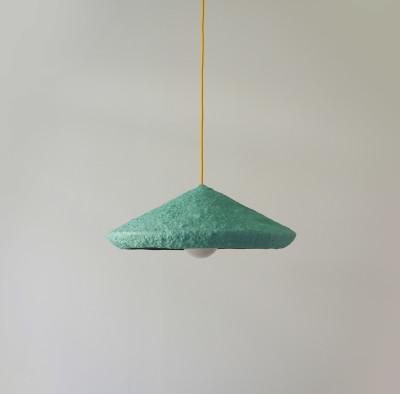 Paper pulp pendant lamp Mizuko Green Mizuko Green