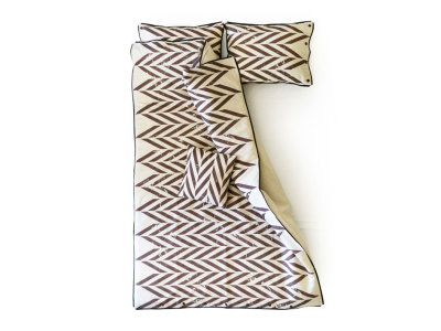 Printed linen bedding set Queen/UK King - Brown print
