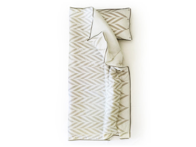 Printed linen bedding set Single - Grey print
