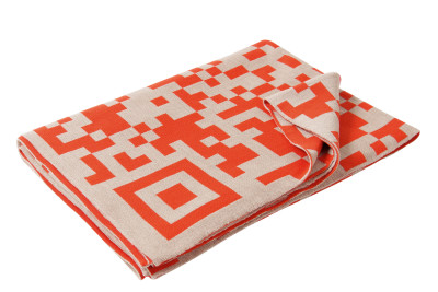 QR-Code Merino Throw  Light Beige and Neon Orange