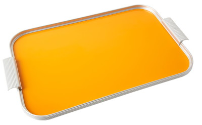 Ribbed Tray Silver and Signal Orange, 18 Inch