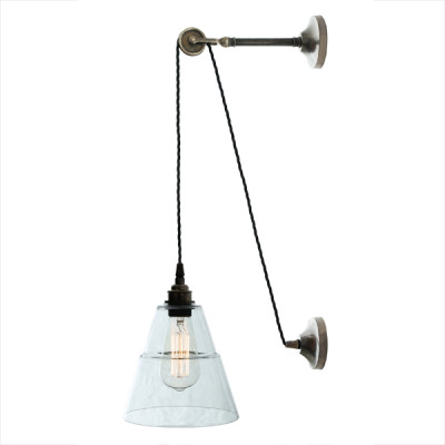 Rigale Coolie Industrial Pulley Wall Light Antique Silver