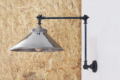 Rio Adjustable Industrial Wall Light Antique Silver