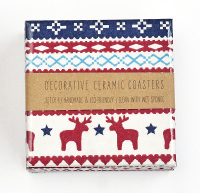 Scandinavian Pattern Blue/Red/White Ceramic Coasters