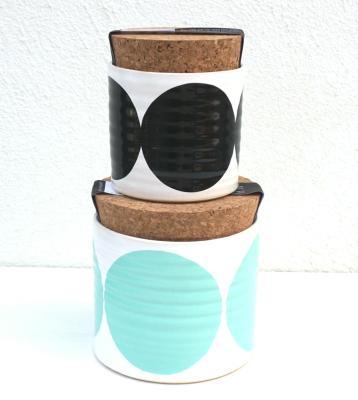 Set of 2 Pots Turqouise, Black