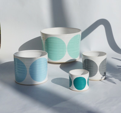 Set of 4 Pots Turquoise, Light Blue, Grey