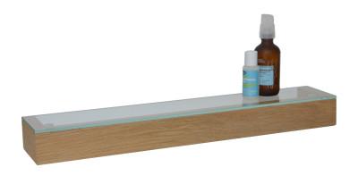 Slimline Shelf with Glass Top Natural Oak