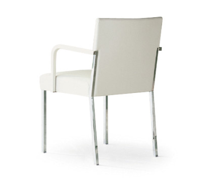 Steel Chair with Leather Arms A4500 - Art.48045 - 206 beige, Oxidored Base