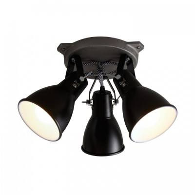 Stirrup Triple Ceiling Light Black
