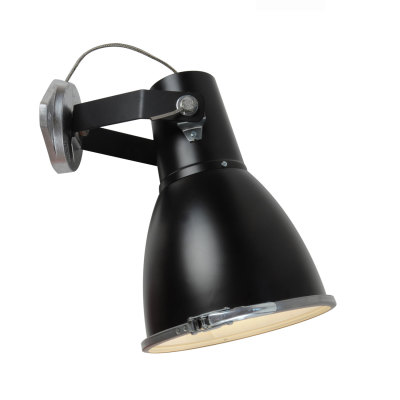 Stirrup Wall Light with Sandblasted Glass Black