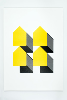 Houses - Yellow & Black Without Frame