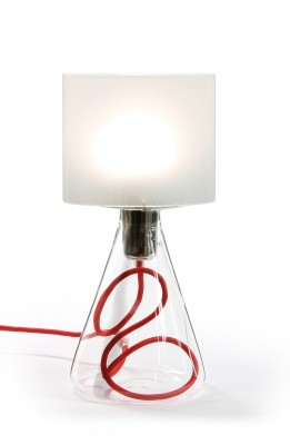 "Table Lamp - ""Lampe 03"" Red textile cord"