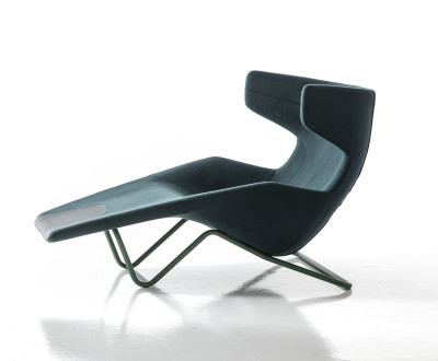 Take a Line for a Walk Chaise Lounge B0211 - Leather Oil cirè, Chrome