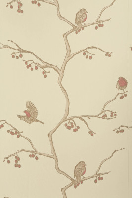 The English Robin Wallpaper  Parchment