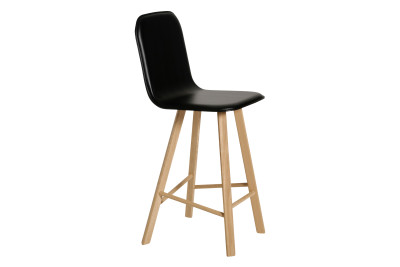 Tria High Backed Bar Stool Oak, Black Leather