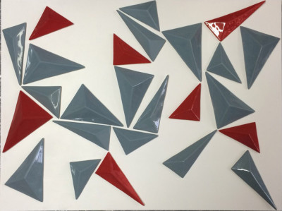 Triangle with Red - Framed wall art