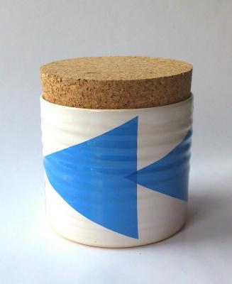Triangles Tea Jar Blue