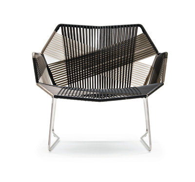 Tropicalia Armchair with Arms White, Black Quartz