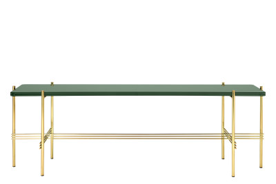 TS Rectangular Console Table with One Glass Plate Dusty Green Top and Black Frame