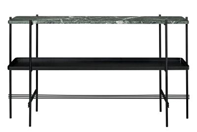 TS Rectangular Console Table with One Marble Plate and One Metal Tray Green Top and Black Frame