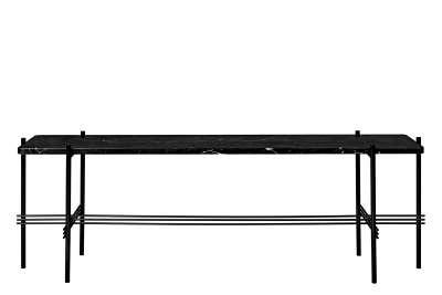 TS Rectangular Console Table with One Marble Plate Black Top and Black Frame